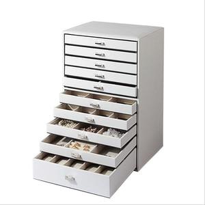 Image 2 - 大容量形の多層ボックス表示puレザー収納ジュエリーディスプレイボックスキャリングケースリングネックレスジュエリー