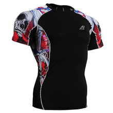 3D Prints Young Mens Short Sleeves Compression Tight T-Shirts MMA Body Building Fitness Wear Tops