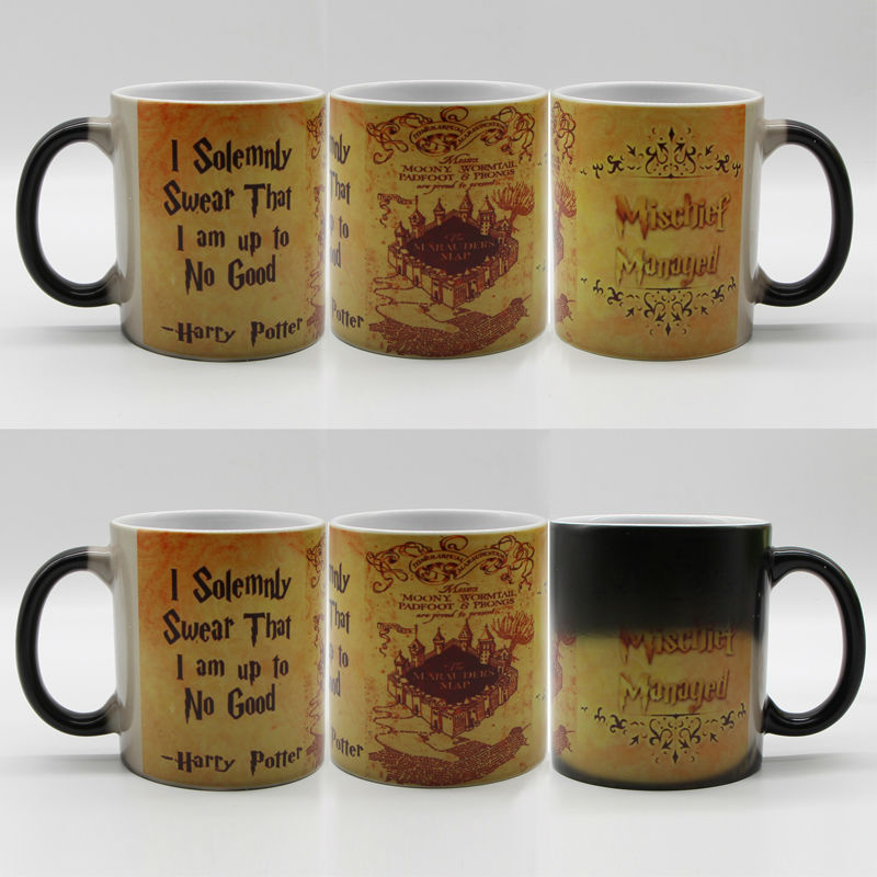 DIY Photo Magic Color Changing Coffee Mug printing with Walking Dead Bloody hands Black cups 11OZ harry potter mug marauders map