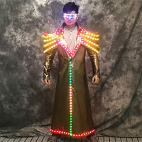 RE55 Rechargeable dance led costumes men wears robot suit dj long jacket colorful coat perform glowing clothe led outfit party