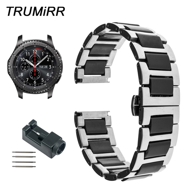 22mm Ceramic + Stainless Steel Watch Band with Link Remover for Samsung Gear S3