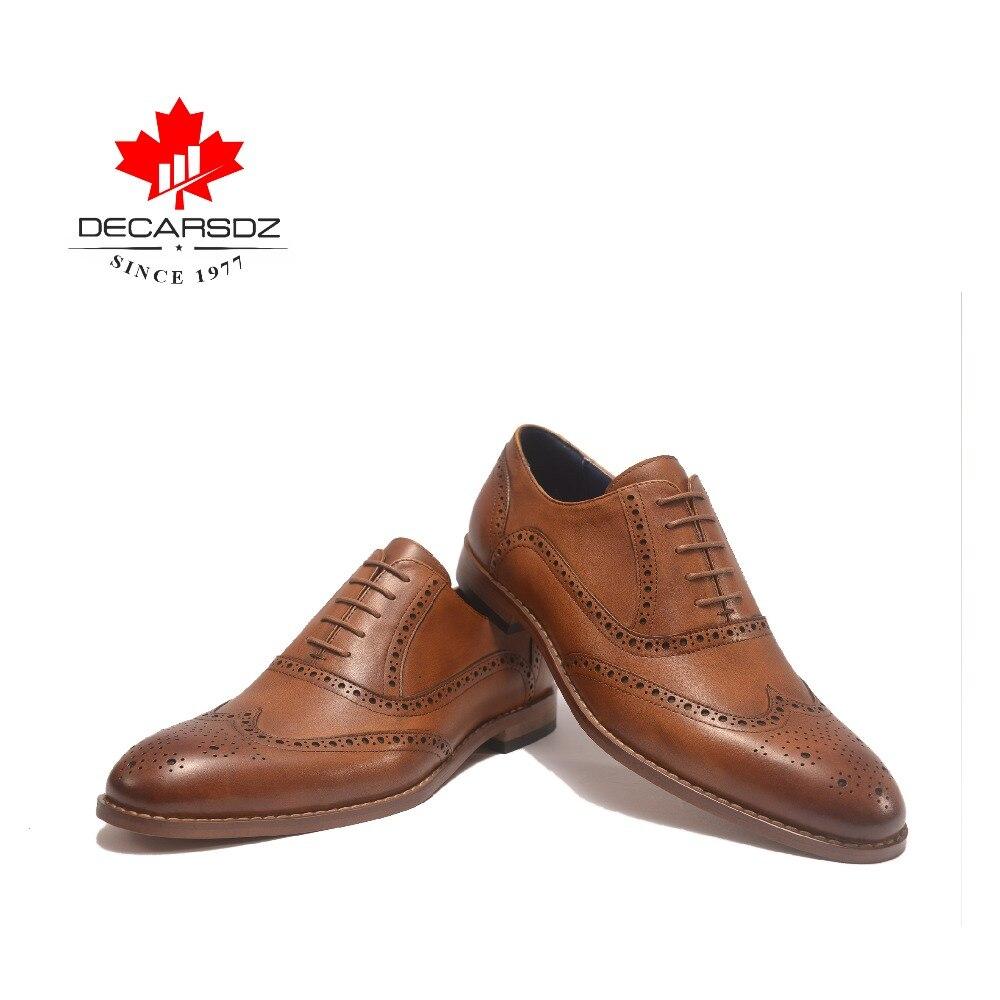 Zapatos de vestir de cuero genuino 2019 para hombres zapatos formales de marca británica zapatos oxford de grano completo trajes de trabajo a mano para hombres zapatos-in Zapatos formales from zapatos    2
