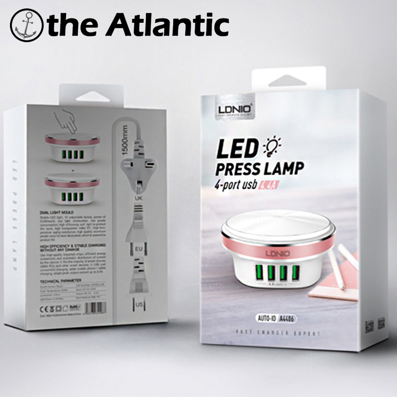 LDNIO A4406 LED Light Four 4 Port USB Plug 5V 4.4A Quick Charger US EU UK  Power Socket Smart  For iPhone iPad AndroidLDNIO A4406 LED Light Four 4 Port USB Plug 5V 4.4A Quick Charger US EU UK  Power Socket Smart  For iPhone iPad Android