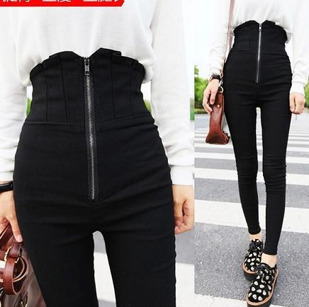 Women's Spring High Waist Casual Pants Trousers Legging Zipper Slim Pants Skinny Pants