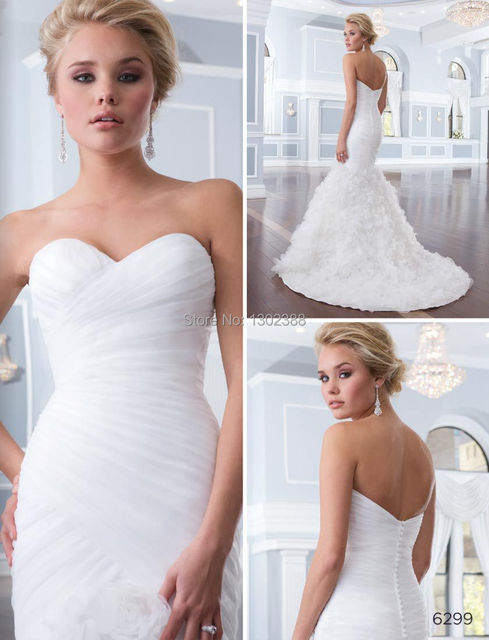 Ss37 Sweetheart Mermaid Organza Backless Wedding Dresses With Flower