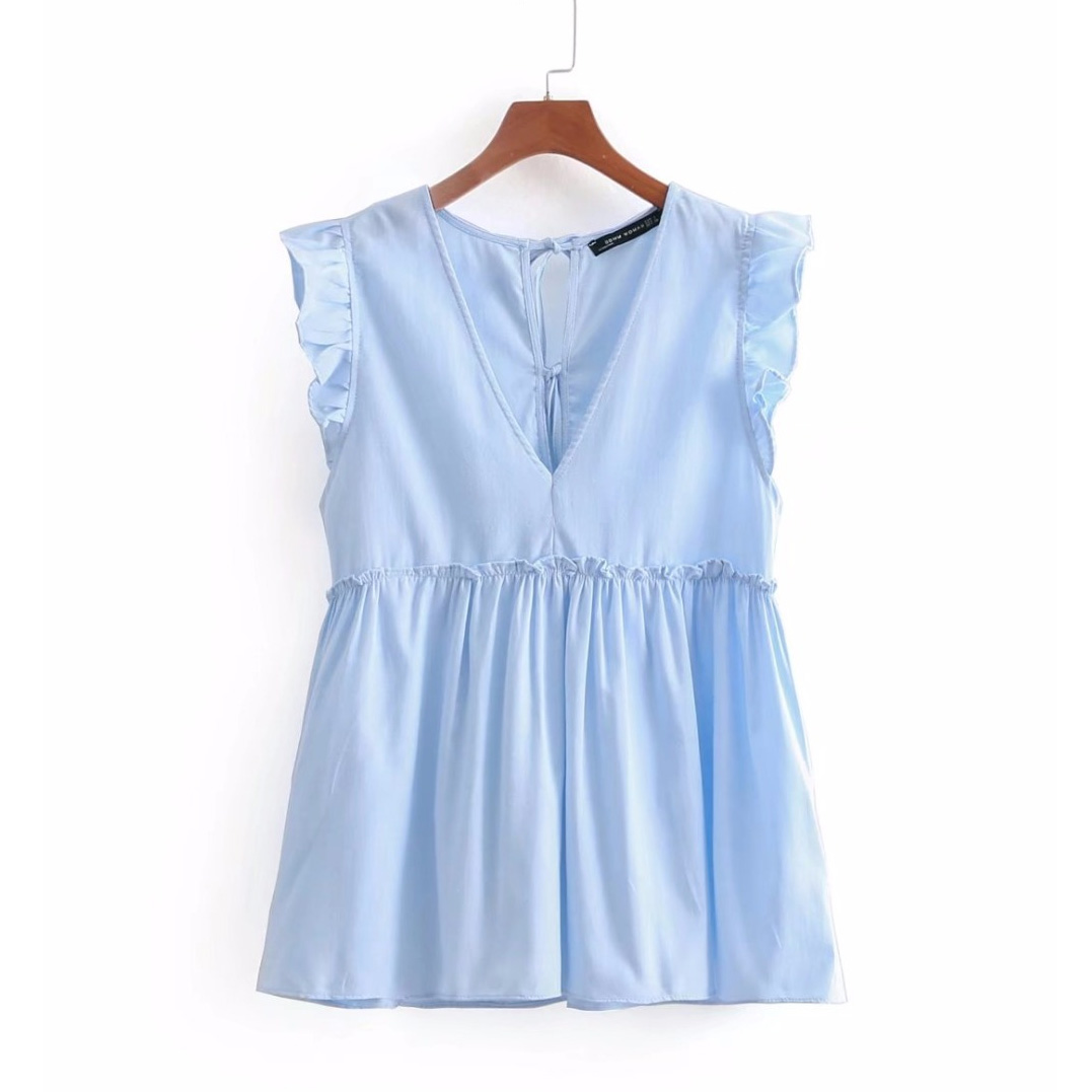 2020 Women Sweet V Neck Sleeveless Ruffles Pleated Casual Blouse Elegant Agaric Lace Shirt Blusas Back Bow Tied Brand Tops