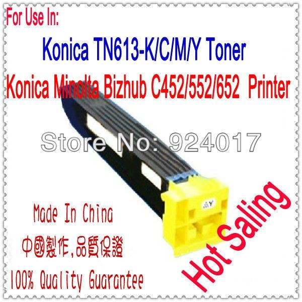 Toner Use For Konica Bizhub C452 C552 C652 Laser Printer,TN613K TN613C/M/Y Toner For Konica C452 C552 C652 Toner K&M C452 452 drum chip for konica minolta bizhub c25 c35 laser printer use for k
