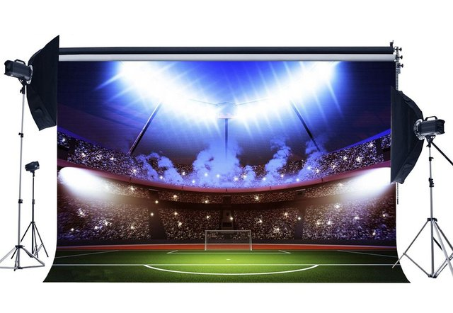 Football Field Backdrop Indoor Stadium Bokeh Stage Light Green Grass Meadow Sports  School Game Gymnasium Photography Background