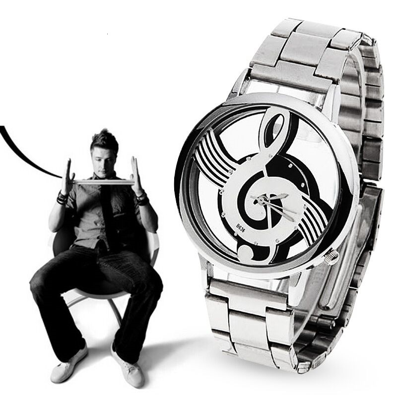2019 New Luxury Brand Fashion And Casual Music Note Notation Stainless Steel Watch Wrist Watch For Men And Women Silver Watches