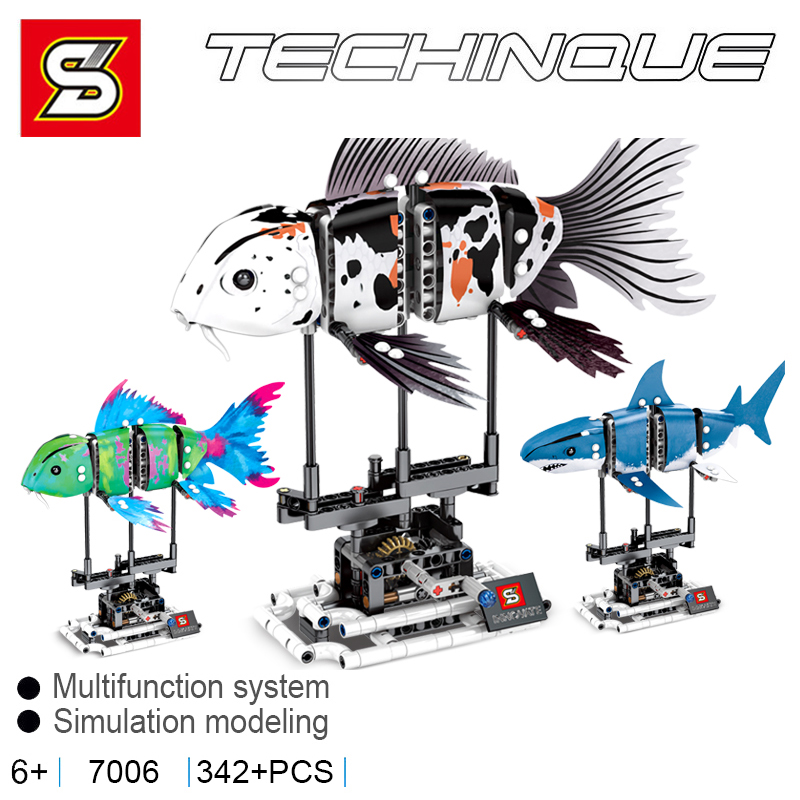 Sembo Forma Fish Compatible LeSet 81000 81001 81002 81003 Creator Building Blcoks Koi Shark Bricks Educational Toys Diy Gifts