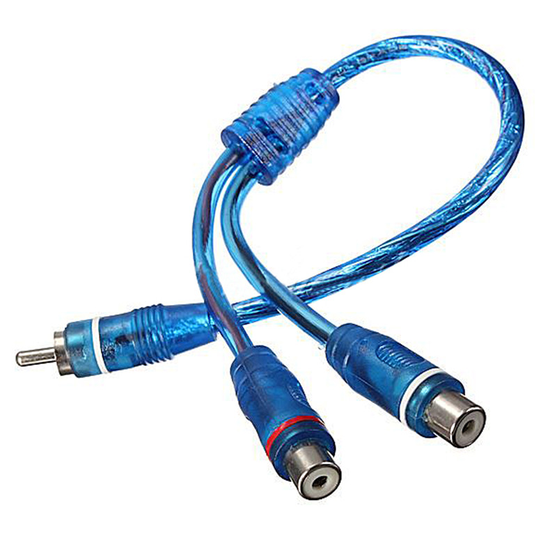 1 RCA Male To 2 Female Splitter Stereo Audio Y Adapter Cable Wire Connector hot sale 3 5 mm stereo audio cable y splitter 2 female to 1 male cable adapter for earphone high quality uo