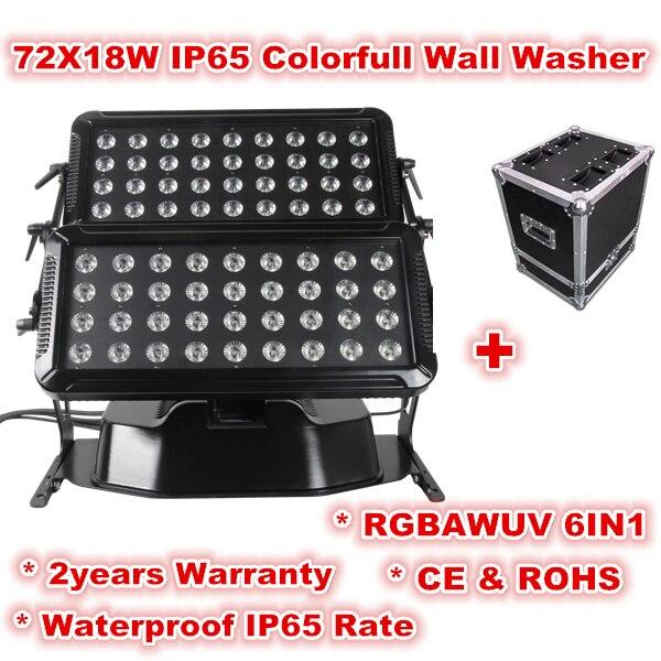 IP65 Led Washer Light 72*18W RGBAW UV 6in1 City Painter Waterproof Light  LED Wall Washer Light(China)