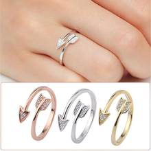 Fashion Women Men Lovers' Unisex Rhinestone Arrow Jewelry Party Club Open Ring Adjustable Couple Accessory(China)
