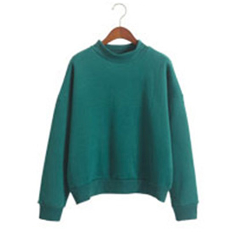 Autumn Pullovers Women Solid Long Sleeve Cotton Sweatshirt Women O Neck White Casual Oversize Puff Sleeve Hoodies Sweatshirt