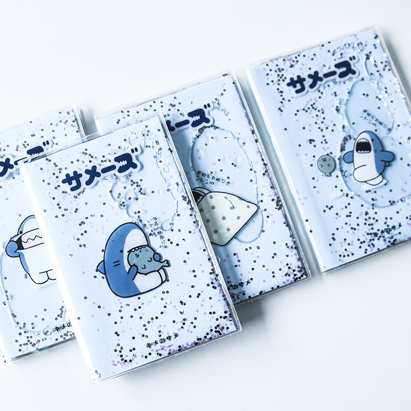 """Shining Shark"" Cute Monthly Weekly Planner Agenda Diary Journal Notebook PVC Cover Water Sequins Inside"