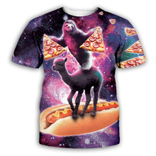 PLstar Cosmos Sloth/Alpaca/Pizza T-shirt Men Women Animal 3D T Shirt funny Summer Short Sleeved Breathable Tshirt Plus Size