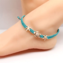 New Accessories for Women Hand-woven Korean Wax Thread Anklet Turtle Starfish Creative Anklets Jewelry