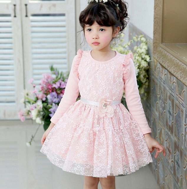3c798389a New Baby Girls Fairy Cotton Lace Fall Long Sleeve Mesh Dresses ...