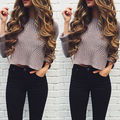 Womens Long Sleeve Casual Pullover Shirt Ladies Loose Tops T-Shirts Knitted Gray Fashion Woman Clothing