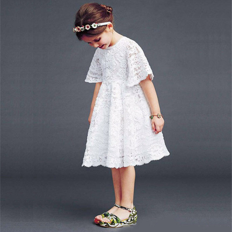 Summer Casual Half Sleeve Girl Lace Dress White Floral Pattern O-Neck - Children's Clothing - Photo 2