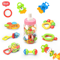 Brand New 10pcs Lot Set Baby Rattles Teether Massage Molar Teeth Soother With Soft Sensory Handbell
