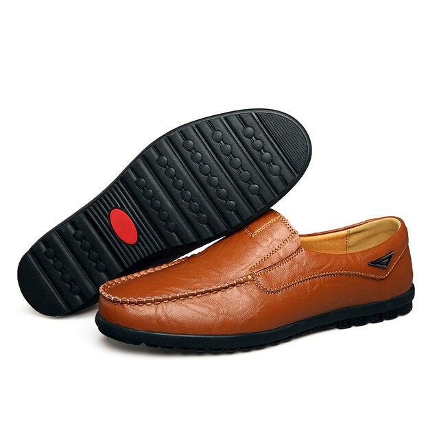 Sapatos casuais masculinos de couro genuíno marca de luxo 2019 mocassins dos homens deslizamento respirável em preto sapatos de condução mais tamanho 37-47 1