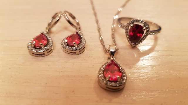 Livre o navio roxo conjuntos de jóias gota de água zircônia cúbica cz pedra 925 prata esterlina brincos colares anéis dedo