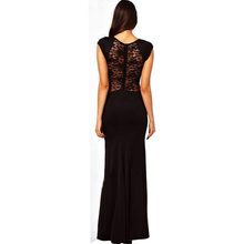 Wholesale New Fashion Elegant Celeb Lace Slim Patchwork Slit Pencil Sexy Party Evening Women Long Dresses