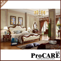 Hot Selling European Style Furniture White Wooden King Size Bed