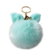 Bunny Key Chain Artificial Rabbit Fur Ball Key Rings PompomBag Rabbit Hair Pet Car Pendant Decorate