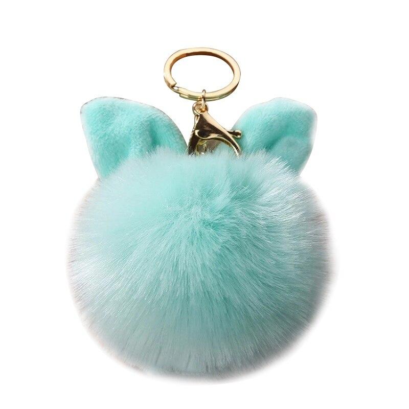 Bunny Key Chain Artificial Rabbit Fur Ball Key Rings PompomBag Rabbit Hair font b Pet b