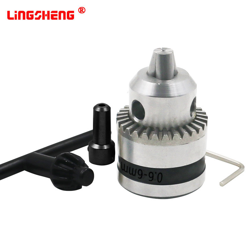 Mini Electric Drill Chuck 0.6-6mm Mount B10 Taper With 4/5/6/8/9.5/10/11/12/14mm Connector Rod Motor Shaft Key Wrench Power Tool