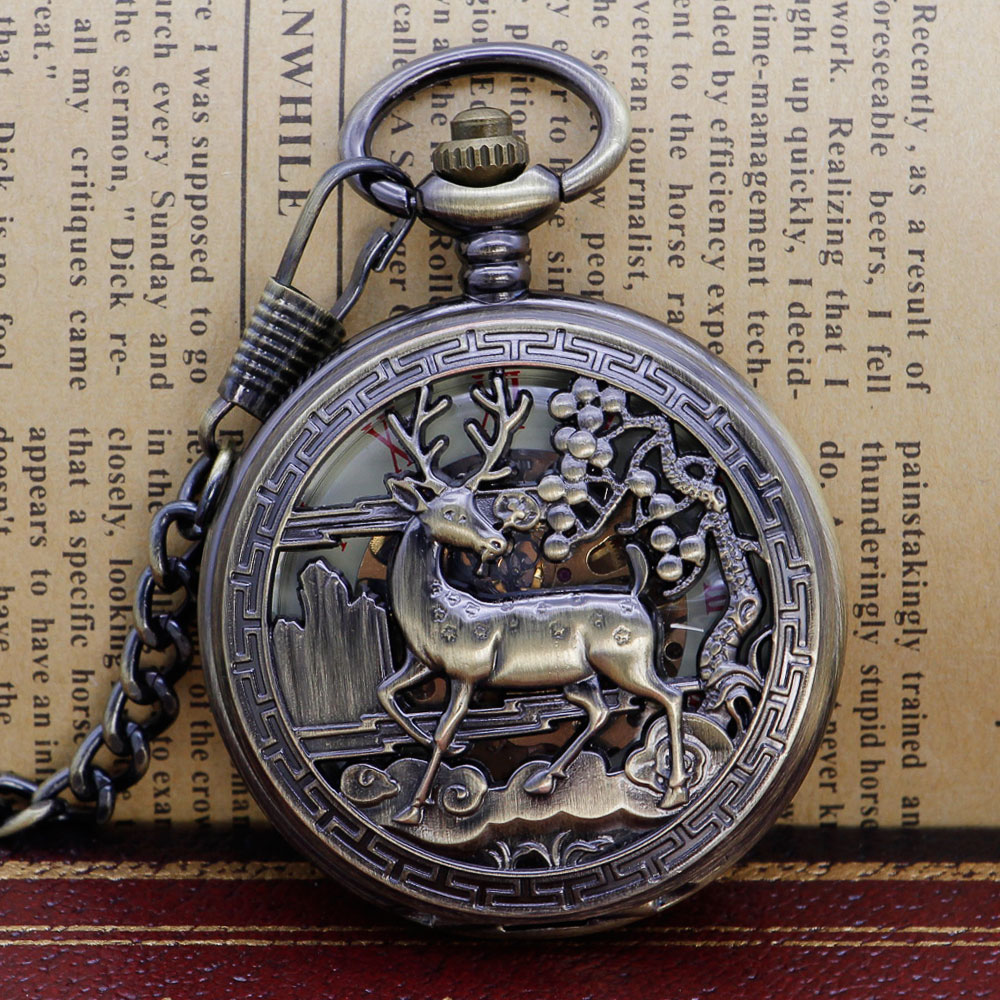 Retro Steampunk Elk Animal Skeleton Mechanical Pocket Watch Antique Luxury Brand Necklace Pocket & Fob Watches Chain Male Clock