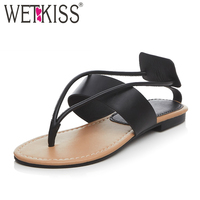 WETKISS 2017 Genuine Leather Women Slippers Outside Gladiator Women S Summer Shoes Casual Flip Flops Flat