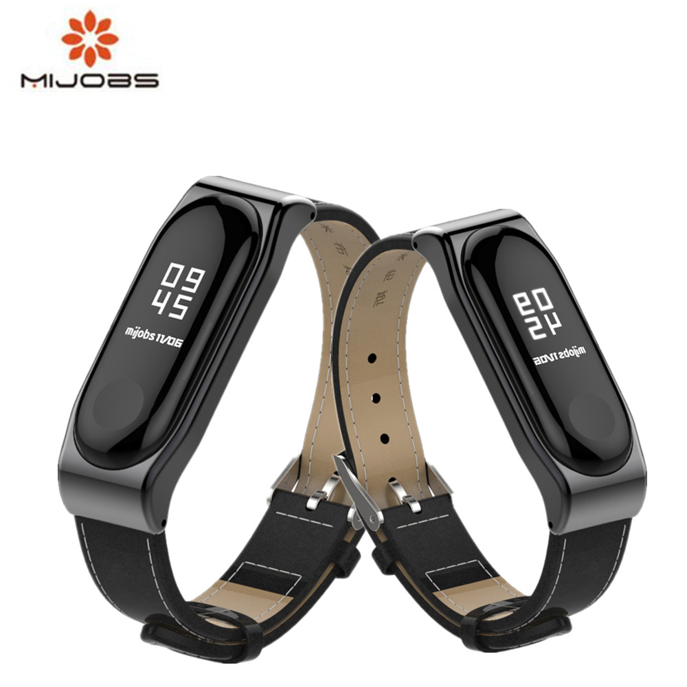 Mijobs Mi Band 3 Leather Strap For Xiaomi Mi Band 3 Straps Bracelet For Mi Band 3 Smart Watch Miband 3 Wrist Band Belt for xiaomi mi band 3 bracelet strap for mi band 3 wrist band miband 3 smart watch strap belt stainless milanese loop wrist bands