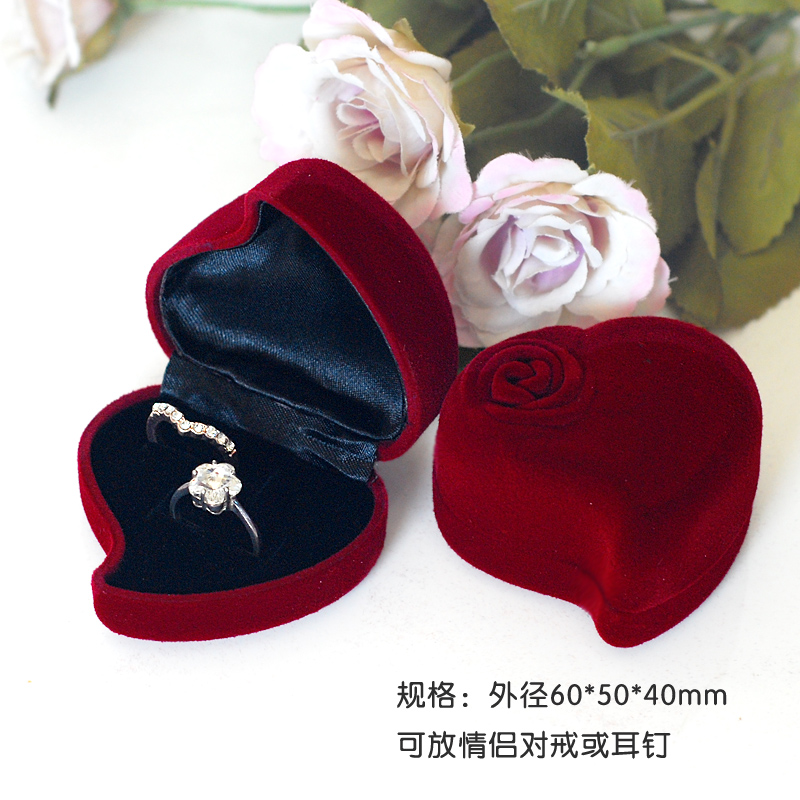 High Quality 12pcs Dark Red Color Heart Shape Ring Boxes/ Earring Boxes Can Put 2 Rings In 1 Box *Best Idear