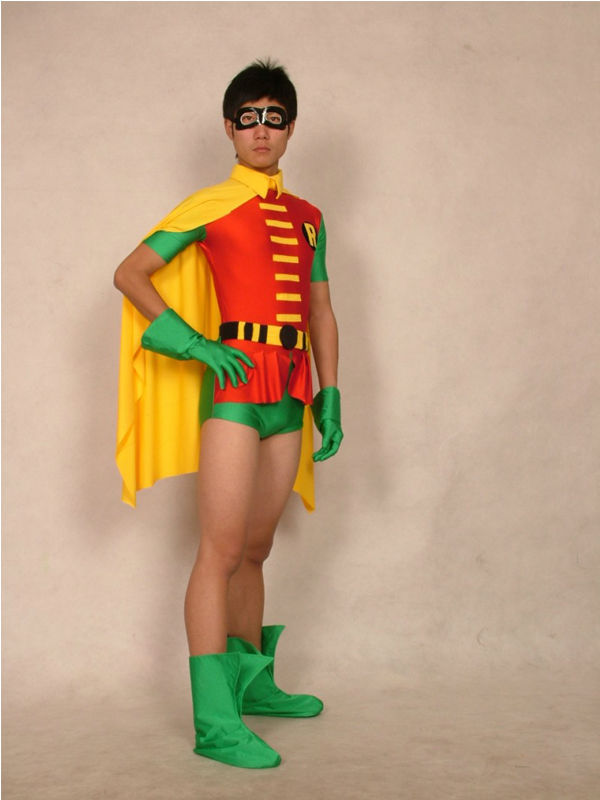 Lycra Spandex Robin Costumes Super Hero Zentai Bodysuit for Halloween Batman Cosplay Costume
