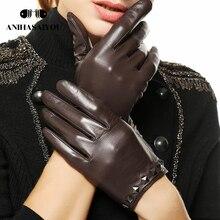 High grade Korean women leather gloves sheepskin rivets genuine thin screen touch - L096