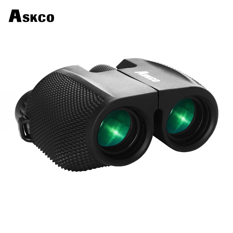 Askco Wide Angle Viewing 10x25 Compact Binoculars Professional Telescope Opera Glasses for Travel Concert Outdoor Sports Hunting gold 3x golden luxury lady opera glasses opera binoculars gift theater binoculars with handle do016