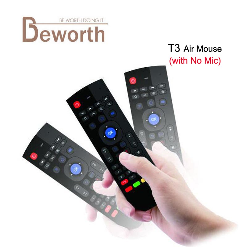 Free DHL T3 2.4G Fly Air Mouse without Voice Mic T3-M Mini Keyboard Qwerty Wireless Remote Control IR Learning X8 6-Axis Gamepad