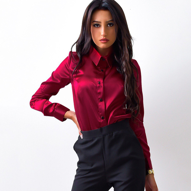 09f6dfacf2 2018 Fashion Women silk satin blouses Green Wine red shirts button lapel  long sleeve office work elegant female Tops blusas