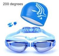 성인 근시 방수 수영 안경 안티 안개 UV 보호 수영 고글 모자