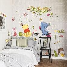 disney winnie pooh wall stickers bedroom nursery home decor cartoon animals decals pvc posters diy mural art wallpaper