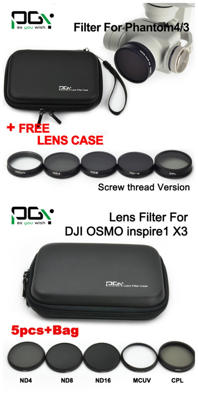 PGY DJI inspire 1 / DJI OSMO / DJI Phantom 4 3 Camera filter MCUV / ND4 / ND8 / ND16 / CPL filter / case bag Camera accessories pgy dji phantom 4 3 professional accessories lens filter 6pcs bag nd4 nd8 mcuv cpl cover gimbal camera quadcopter drone part