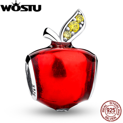 Autumn Fashion 925 Sterling Silver Apple Charm With CZ Fit Original wst Bracelet Pendant Authentic Same Jewelry