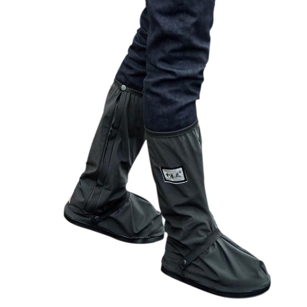 Adjustable Tightness Reusable Waterproof Non-slip Rain Black Shoes Boot Covers For Motorcycle Riding Cycling On Rainy Day