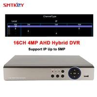 SMTKEY 16CH 4MP AHD видеорегистратор Поддержка 3MP 2MP 1080 P 720 P AHD Камера 5in1 Hybrid DVR (AHD /IP/TVI/CVI/аналоговый)