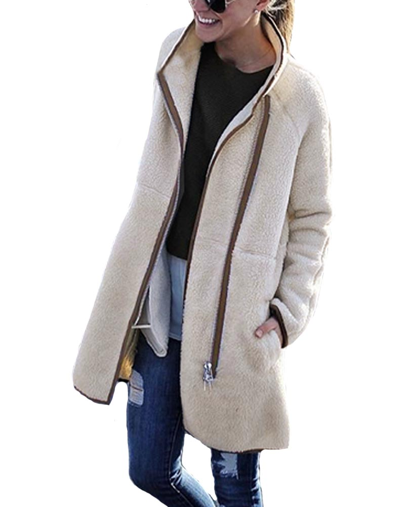 Hitmebox 2018 Autumn Winter elegant women's woolen standard up collar cardgians female warm fleece long zipper jacket outerwear
