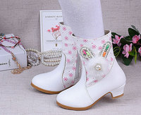 New Fashion Girls Kids Children Short Boots Leather Shoes High Heels Boots Warm Shoes Girls Kids