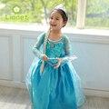 Boda del verano Niñas Ropa Cosplay Anna Elsa princesa vestido de Encaje de Flores de Gasa Niños Azules Niños Chicas Vestidos robe fille